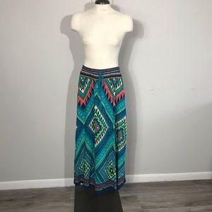 Flying Tomato Aztec Neon Multi Colored Maxi Skirt